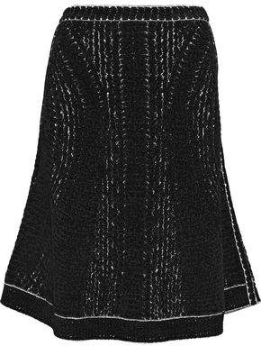 Herve Leger Flared Bouclé-Knit Skirt