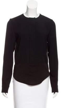 J Brand Chiffon-Trimmed Long Sleeve Top