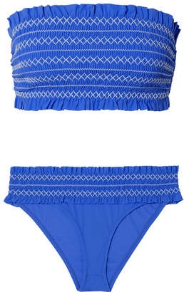 Tory Burch Costa Smocked Bandeau Bikini - Light blue