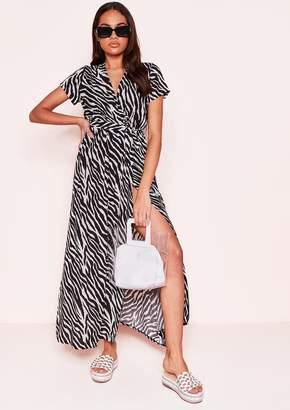 8bf2571e853 Missy Empire Missyempire Talia Black White Zebra Print Wrap Front Maxi Dress
