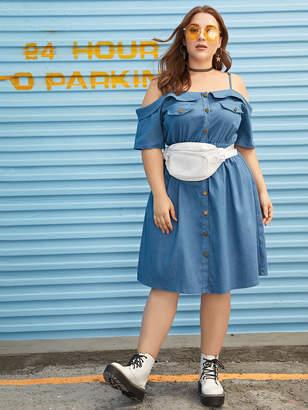 Shein Plus Open-shoulder Button Through Denim Dress Without Bag