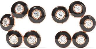 Selim Mouzannar - Mina 18-karat Rose Gold, Enamel And Diamond Clip Earrings