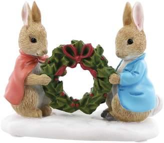 Beatrix Potter Peter Rabbit & Flopsy Holding a Holly Wreath