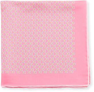 Salvatore Ferragamo Fibbia Gancini Silk Pocket Square, Pink