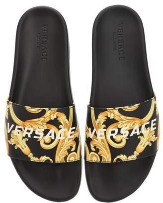 d7b189da0ebd Versace St.heritage Printed Leather Slide Sandal
