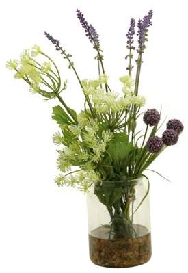 D&W Silks Queen Anne's Lace, Lavender and Lavender Globe Flower in Glass Candle Jar