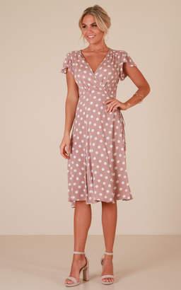 Showpo Sign Off dress in mocha polka dot