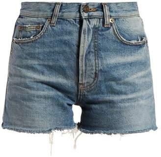 Saint Laurent Raw Hem Denim Shorts - Womens - Denim
