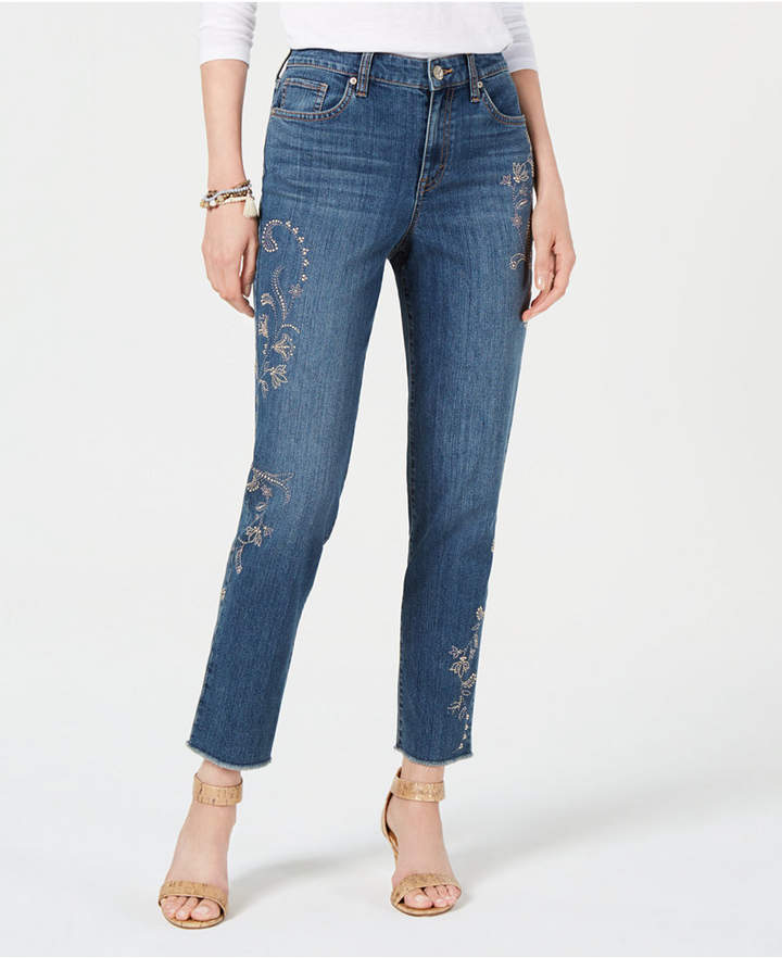 Style & Co Embroidered Slim Ankle Jeans