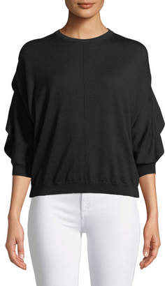 Valentino 3/4-Sleeve Wool Sweater w/ Ruffle Frill & Lace Inset at Back