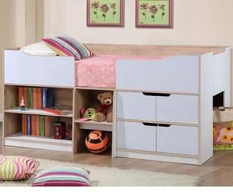 at Fu0026F Clothing · Happy Beds Paddington Wood Kids Storage Midsleeper Cabin Storage Bed With Memory Foam Mattress - Oak & Cabin Beds With Storage - ShopStyle UK