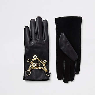 River Island Black RI leather chain gloves