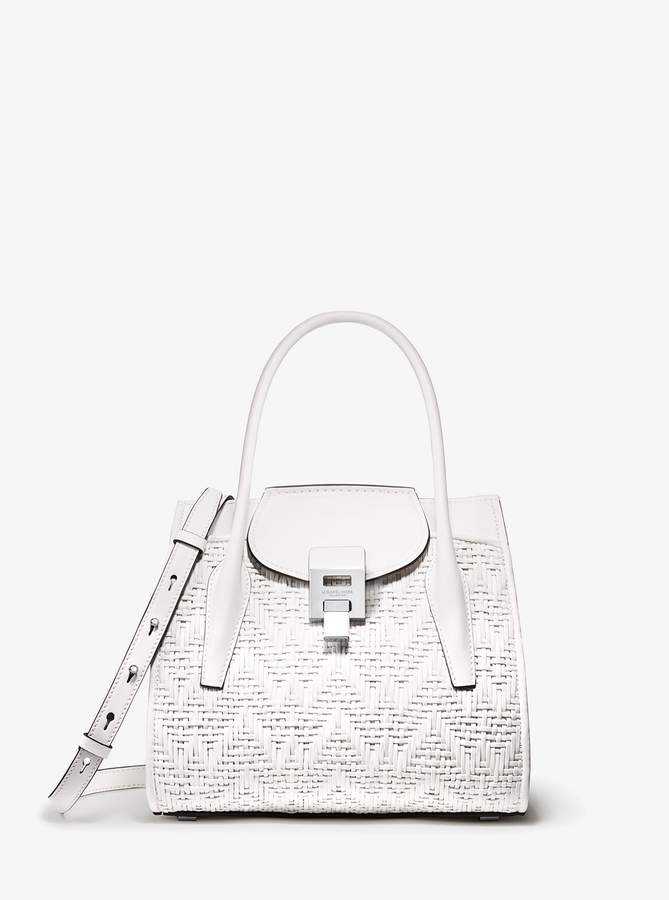 321fe570bfd3 Michael Kors Collection Bancroft Medium Woven Calf Leather Satchel detail  image