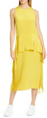 Stella McCartney Fringe Hem Silk Midi Dress