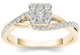 Imperial Diamond Imperial 1/2 Carat T.W. Diamond Criss-Cross Shank Cluster 10kt Yellow Gold Engagement Ring Set
