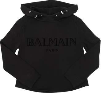 Balmain Logo Flocked Cotton Sweatshirt Hoodie