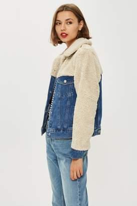 Topshop Womens Petite Hybrid Borg Denim Jacket - Mid Stone
