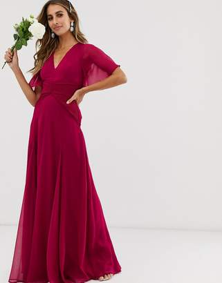 Asos Design DESIGN Bridesmaid flutter sleeve maxi dress with pleated waist