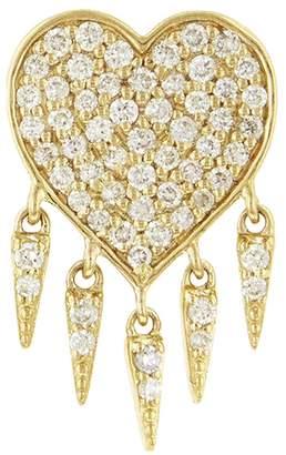 Sydney Evan Diamond Pavé Heart Fringe Single Stud Earring - Yellow Gold