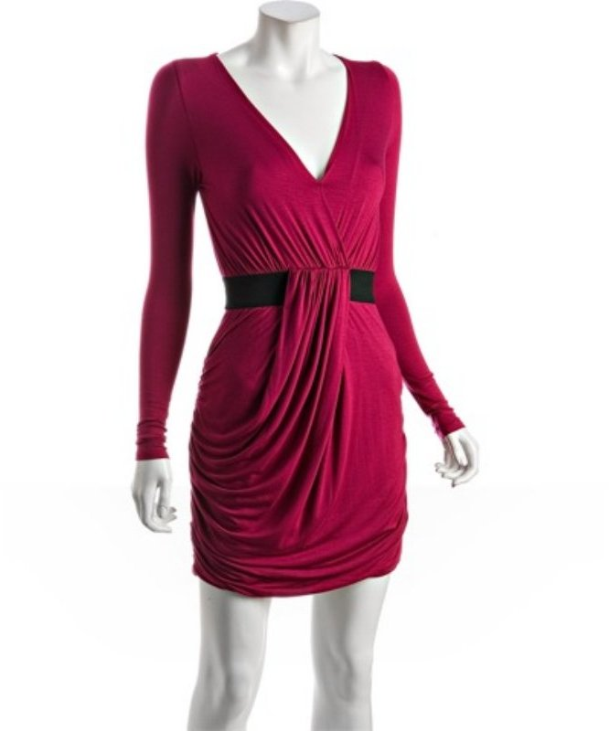 Wyatt rose jersey drape v-neck dress