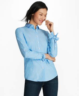 Brooks Brothers Bow-Cuff Striped Cotton Poplin Shirt