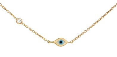 Sydney Evan Mini Evil Eye Bracelet on Rose Gold with Diamond