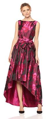 Tahari by Arthur S. Levine Women's High Low Dress with Floral Pattern and Bow on Waist