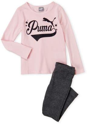 Puma Girls 4-6x) Glitter Logo Tee & Leggings Set