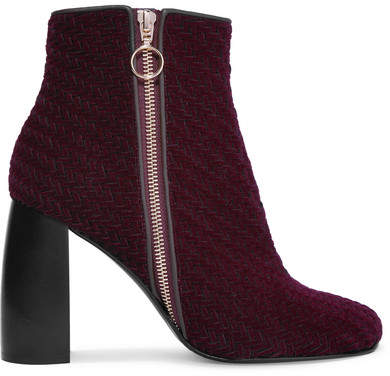 Stella McCartney - Woven Faux Suede Ankle Boots - Burgundy