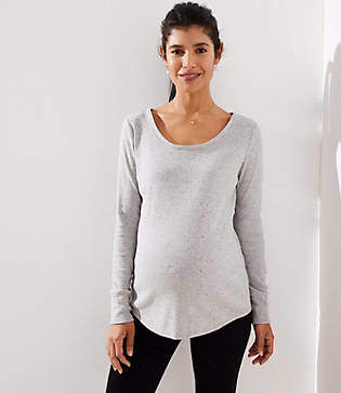 LOFT Maternity Speckle Striped Long Sleeve Shirttail Tee