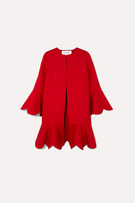 Valentino Ruffled Wool And Cashmere-blend Coat - Red
