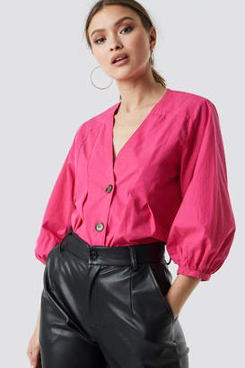 66b3e1ed5fb NA-KD PUFF SLEEVE BUTTON UP BLOUSE Bright Pink