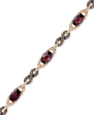 LeVian Le Vian Raspberry Rhodolite Garnet (5-5/8 ct. t.w.) and Diamond (1 ct. t.w.) Link Bracelet in 14k Rose Gold