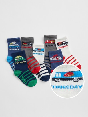Gap Toddler Truck Days-of-the-Week Crew Socks (7-Pack)