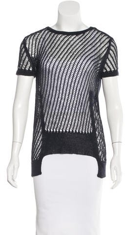 Carven Carven Short Sleeve Open Knit Top