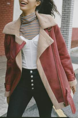 Urban Outfitters Oversized Faux Leather Aviator Jacket