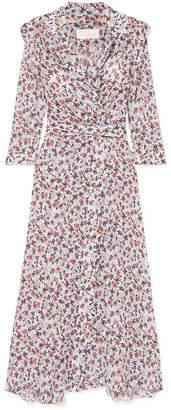 Chloé Scalloped Floral-print Georgette Wrap Maxi Dress - Gray