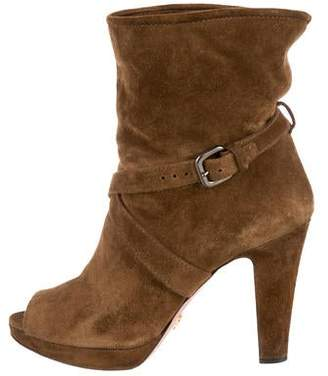 Prada Peep-Toe Ankle Boots