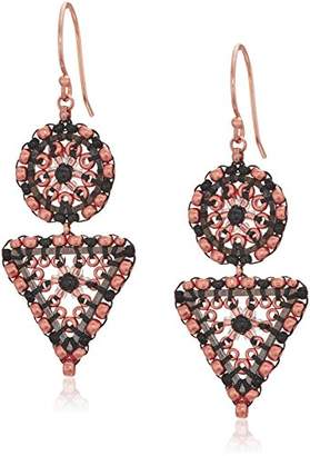 Miguel Ases Women's Onyx Ball Two Link Circle Triangle Drop Earrings