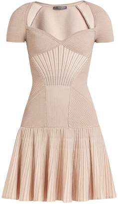 Alexander McQueen Sweetheart-neck short-sleeved wool-blend dress
