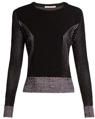 Marco De Vincenzo - Long Sleeved Ribbed Knit Sweater - Womens - Purple Multi