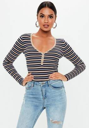 Missguided Navy Stripe Button V Neck Knit Bodysuit
