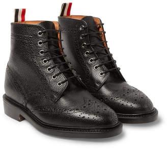 Thom Browne Leather Wingtip Brogue Boots - Men - Black