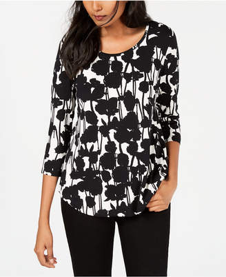 JM Collection Petite Leopard-Print 3/4-Sleeve Top