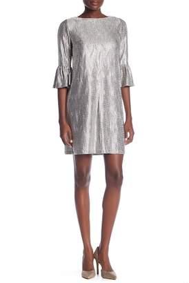 London Times Sequin Print Bell Sleeve Shift Dress