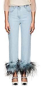 Prada Women's Ostrich-Feather-Embellished Relaxed Jeans - Lt. Blue