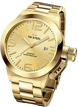 TW Steel Canteen Unisex Quartz Watch with Gold Dial Analogue Display and Silver Rose Gold Bracelet CB101