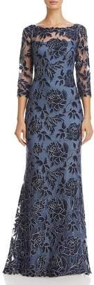Tadashi Shoji Embroidered Lace Gown