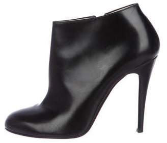 Christian Louboutin Leather Round-Toe Booties