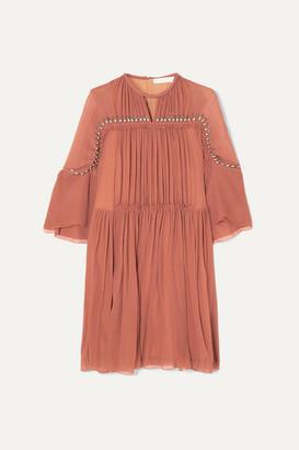 Chloé Embellished Gathered Silk-crepon Mini Dress - Taupe